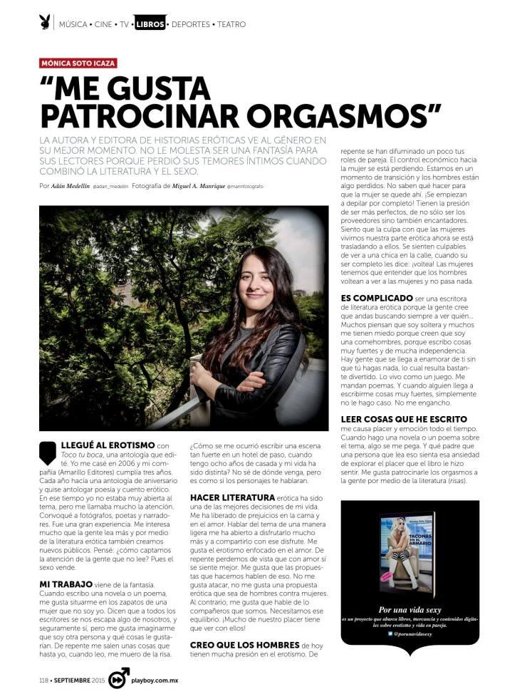 Mónica Soto Icaza en Playboy. Sept 2015